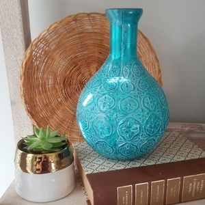Moroccan Style Boho Turquoise Mercury Glass Vase